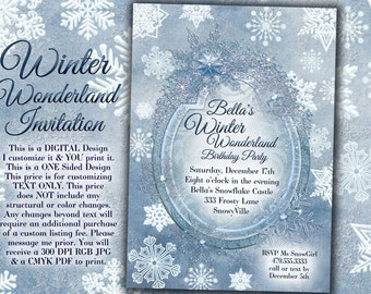 Winter Wonderland Party, Winter Snowflake Invitation, Winter Party Invitation, Snowflake Invitation, Christmas Party Invitation