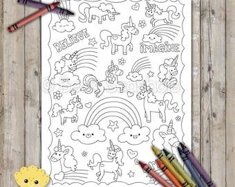 Unicorns and Rainbows Printable Coloring Page