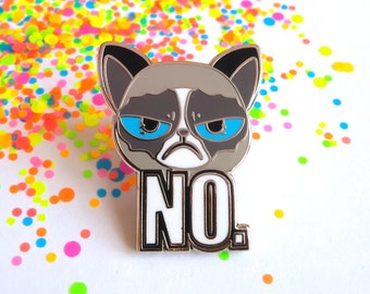 Enamel cat pin, cat pin, angry cat, enamel pin, animal pins, cat lovers gift, funny cat, cat lapel pin, meme pin, funny pins, NO pin