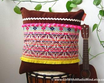 Mexican Pillow Folk Pink Geometric Yellow Brown Cushion - Boho Home Decor