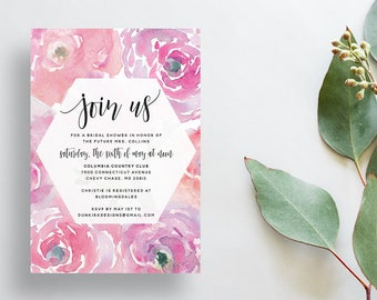 Watercolor Floral Shower Invites / Soft Pink / Calligraphy / Semi-Custom Party Bridal Shower Invites / Print-at-Home Invitations