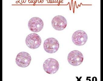 Set of 50 pink cracked 8mm acrylic Bubblegum beads