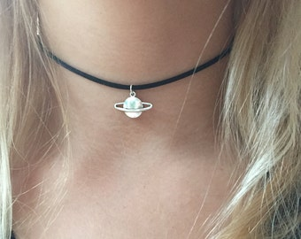 Planet choker necklace on black cord 90s choker saturn style planet choker