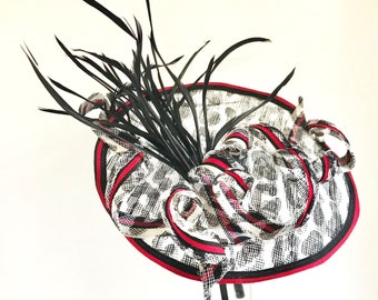 Royal Wedding, Kentucky Derby Hat, Ladies Fascinator, Horseracing hat, Derby Headpiece, Wedding, Fancy Hat, Saucer Fascinator , Animal Print