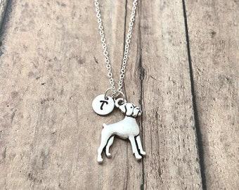 Boxer dog initial necklace - boxer jewelry, dog breed jewelry, boxer gift, dog breed necklace, silver boxer dog pendant, boxer necklace