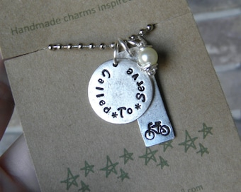 Missionary Necklace, Bike Necklace, Called to Serve Necklace