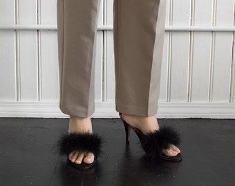 90s Black Widow Fuzzy Heels / Tag Size 9/10
