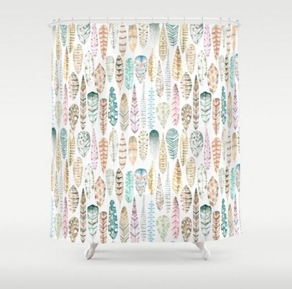 Completely new Boho Shower Curtain Tribal Bath Curtain Feathers Curtain Mint BT93