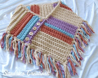 Knitted edge hand crocheted poncho wool chunky wood buttons