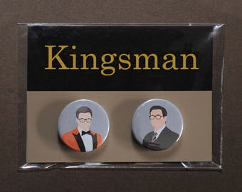 Kingsman button badges – Eggsy tuxedo orange jacket – Harry Hart – Golden Circle – Manners Maketh Man – cosplay fandom prop replica