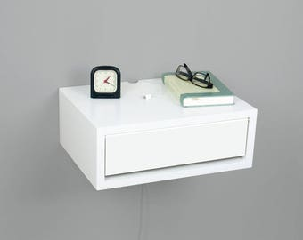 Contemporary White Floating Nightstand, Floating Bedside Table, Side Table, Wall Mount Night Stand with a Door
