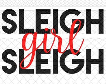 Sleigh Girl Sleigh SVG|PNG|STUDIO3 Cut Files for Silhouette Cameo/Portrait & Cricut Explore/Maker DIY Craft Cutters