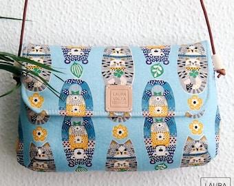 Shoulder bag with leather handle, bear and cat print bag, woman bag, fabric bag, small bag. Blue