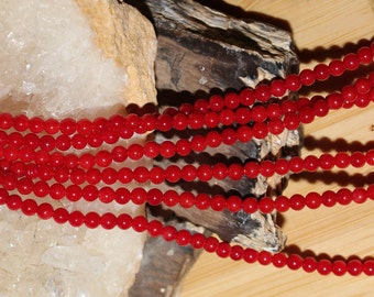 "16"" Strand of 2.5mm Smooth Round Red Coral Beads #5"