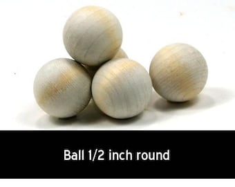 Unfinished Wood Ball - 1/2 inch round wooden shapes (WW-RB0500)