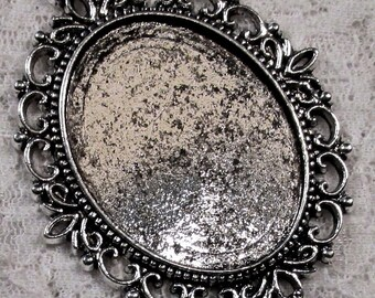 40x30mm Antique Silver Setting - Old World Lace - 1 pc : sku 08.02.13.3 - V18