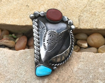 Vintage Native American Turquoise and Coral Pocket Ring Hand Wrought Etched Sterling