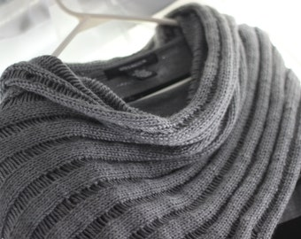 Drop-Stitch Lace Wrap in Gray Heather