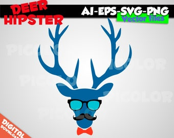 blue Deer Hipster Silhouette SVG EPS PNG Instant Download Format for Cricut and Silhouette Cut File Stencil Decal Vinyl Tshirt Template