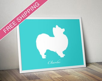 Personalized Papillon Silhouette Print with Custom Name - Papillon art, dog portrait, dog gift