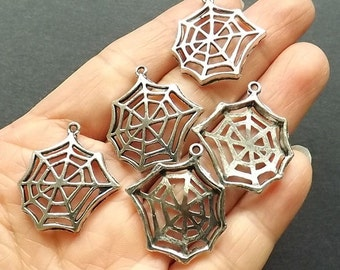 "6pcs-1"" spider web charm-Antique silver metal Charm pendant beads-ALK 1715"