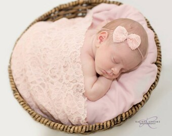 Newborn bow tieback headband, Lace bow newborn halo headband, Newborn girl photo prop headband, Newborn tie back headband, Baby girl tieback