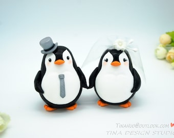 Penguin Cake Toppers, Funny Wedding Cake Toppers, Custom Wedding Cake Toppers, Love Bird Wedding Cake Toppers, Unique Wedding Cake Toppers