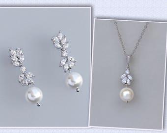 Bridal Necklace Set, Bridal Jewelry Set, Pearl Wedding Set, Earrings & Necklace Set, ANNIE RG