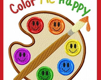 Back to School Applique design  Color me Happy