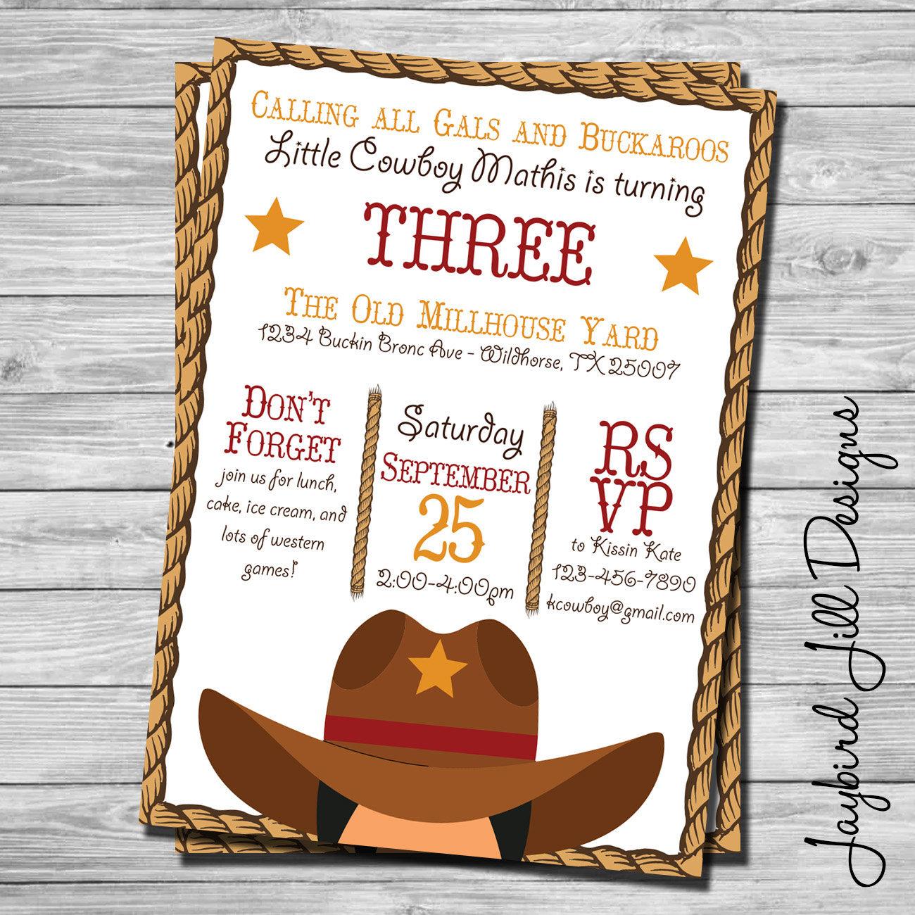 Cowboy Birthday Invitation / Wild West Theme / Western Party /