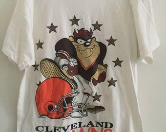 Vintage 90s Tasmanian Devil Themed Cleveland Browns T-Shirt