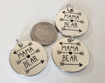 """3 - """"MAMA BEAR"""" pendants or charms, Rhodium Plated, Mothers Day necklace, Mom pendant, Mama Bear jewelry, Arrow Pendant"""