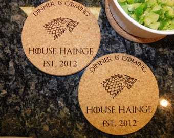 Game of Thrones Personalized Kitchen Cork Hot Pads Trivets.  Custom Engraved Thick Pads.  Dinner Is Coming