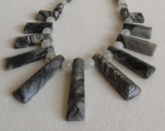 Zebra Jasper and Rutilated Quartz Necklace with Sterling Siver Clasp, Handmade Jewelry, Smokeylady54