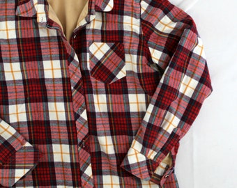 Bollero sz 36 lined plaid flannel button front shirt