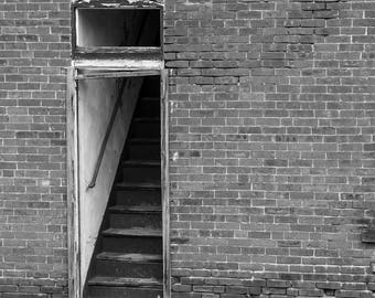 Black and white photograph fine art photography old brick stairway stairs abandoned door minimal rustic art home decor wall decor print