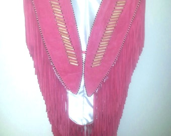 TRIBE AMERICA -  Native American Fringed Poncho Vest - Pink Leather