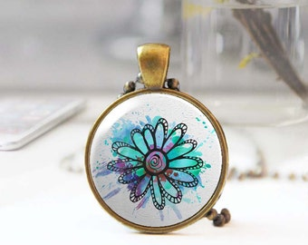 Floral pendant, Colorful flower necklace, Long boho necklace, Botanical jewelry, Feminine art jewelry, Blue Cabochon necklace, 5093-11