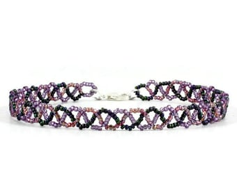 Purple Anklet - Braid Ankle Bracelet - Seed Bead Jewelry - Beaded Foot Jewelry - Summer Anklet - Beach Jewelry