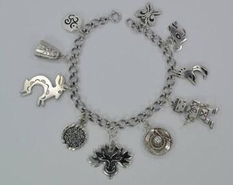 "Vintage Sterling Silver Southwest Theme Charm Bracelet 10 Charms 7"" Lg 28 Grams"
