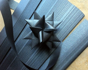 Paper Strips to make 3D Stars (Moravian Froebel Quilling Weaving) Black Sheen 1 in wide
