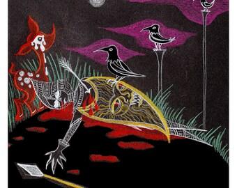 Three Ravens-Framed Giclee Print-Blood & Black Paper