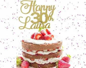 30th Name Birthday Cake Topper - Custom Name cake topper, personalized cake topper, glitter cake topper, gold glitter cake topper