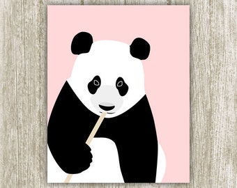 Panda Wall Art Nursery Decor, Black White Pink Nursery Wall Decor, Cute Panda Poster Panda Printable, Girls Room 8x10 11x14 Instant Download