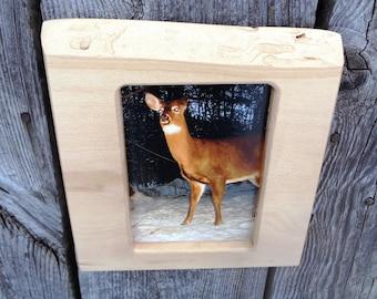 cadre photo rustique / bois cadre / cadre, la faune cerf photo / vivre à bord, cadre de photo Accueil / fait à la main de pays / log cabine décor photo 5 x 7