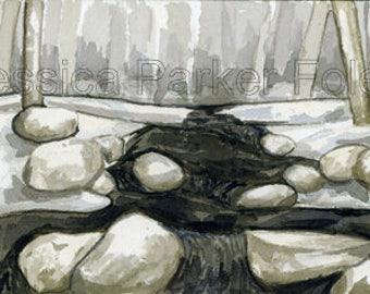 Watercolor Giclée Print - Snowy Winter Stream