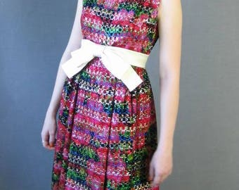 60s Party Dress Vintage Sparkly Red Empire Waist Pat Sandler