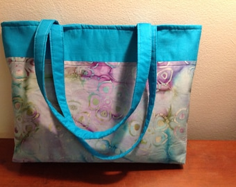 Batik Shoulder bag, Tote bag, Large purse, Everyday bag, yarn bag, craft bag