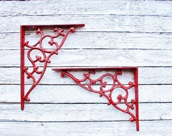 Small Iron Brackets, Iron Shelf Brackets, Country Home, Set of 2, In Country Red ,Bathroom Fixture, Brackets,Anthropologie Home-December