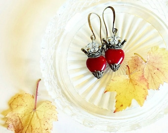 Handmade Blood Red Sacred Heart earrings, Gold Silver or Antique Bronze, Catholic Vintage Milagro Tattoo